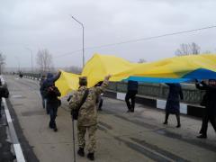 Открытие моста Северодонецк-Рубежное, поврежденного сепаратистами в июле 2014-го