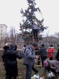 Активисты нарядили елочку в сквере Николая Гоголя