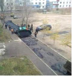В Северодонецке полным ходом выполняются ремонтные работы по асфальтированию